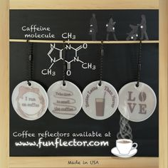 Sassy safety reflectors for the coffee lovers in your life! #coffee #reflective #safetyreflectors