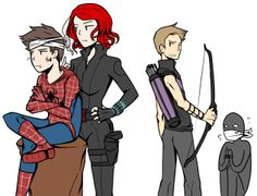 Uncle Clint and Aunt Natasha take care of the bad guy who hurt their dear Peter.