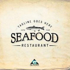 Modern Vintage Seafood Restaurant Logo by WAGlacierGraphics