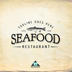 Modern Vintage Seafood Restaurant Logo by WAGlacierGraphics