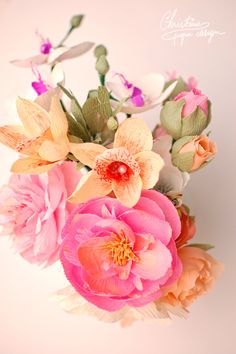 DIY paper flowers - paper peonies and orchids