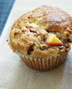 Peach All Bran Muffins! All Bran Muffins, Peach Muffins, Savory Muffins, Spiced Peaches, Simple Muffin Recipe, Muffin Bread, Good Food, Yummy Food, My Best Recipe