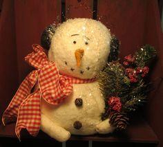 Primitive Handmade Folk Art SNOWMAN Shelf Sittter - Christmas Winter Decoration #NaivePrimitive #Artist