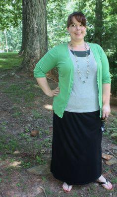 Plus size black maxi skirt, tee, green boyfriend cardigan