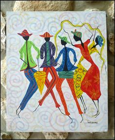 """Haitian Art - Canvas Painting - Women Dancing and Drummer, Original Primative Art Painting from Haiti -  20"""" x 24"""" - P-1086 by TropicAccents on Etsy"""