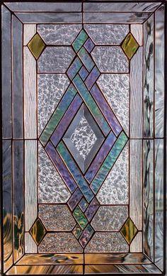Tiffany Style Stained Glass Window Door Insert Beveled Diamond & Swirls Elegance - March 08 2019 at Stained Glass Quilt, Stained Glass Door, Stained Glass Designs, Stained Glass Panels, Stained Glass Projects, Stained Glass Patterns, Leaded Glass, Mosaic Glass, Stained Glass Window Hangings