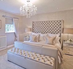 Glam bedroom ideas glamour silver bedroom designs home decor bedroom bedroom decor and master bedroom decorating Glam Bedroom, Home Bedroom, Chanel Bedroom, Bedroom Colors, Bedroom Furniture, Fancy Bedroom, Bedroom Wall, Painting Furniture, Master Bedrooms