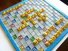 I'm so gonna make this for Armond.he LOVES to play words with friends. Lizy B: Tutorial - Sugar Cookie Scrabble Board - Part 1 Galletas Cookies, Iced Cookies, Cute Cookies, Royal Icing Cookies, Cupcake Cookies, Sugar Cookies, Cupcakes, Scrabble Board, Scrabble Cake