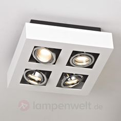 Vierhoekige LED-plafondlamp Vince in wit,