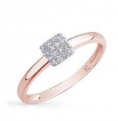 Кольцо с 16 бриллиантами, 0.05 карат; Розовое золото 585 пробы. 11924