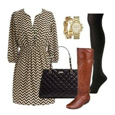 Chevron dress paired with riding boots.