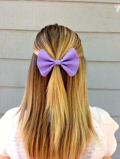 Purple Hair Bow via Etsy