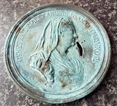 Antique Genefra de Alexandres & 2 Headed Sheep Italian Large Medal / Medallion
