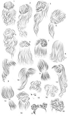 18 vector female hairstyles by colorshop on Creative Market, - Best Frisuren ideen How To Draw Anime Hair, Hair Sketch, Dress Drawing, Drawing Hair Braid, Long Hair Drawing, Girl Hair Drawing, Hair Reference, Art Drawings Sketches, Abstract Pencil Drawings