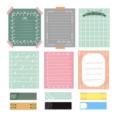 Cute notes and journal. set of romantic and cute vector cards, notes, stickers, labels. Stickers Cool, Printable Stickers, Journal Stickers, Scrapbook Stickers, Memo Notepad, Note Doodles, Cute Notes, Note Paper, Writing Paper