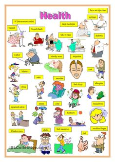 Health 2 - English ESL Worksheets for distance learning and physical classrooms Learn English Words, English Study, English Lessons, English Resources, English Teaching Materials, Teaching English, English Vocabulary, English Grammar, Ingles Kids