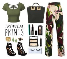 """Green Tropical Prints"" by chintyar ❤ liked on Polyvore featuring LE3NO, Erika Cavallini Semi-Couture, Chinese Laundry, Sophie Hulme, Gorgeous Cosmetics, NARS Cosmetics, Guerlain, Huda Beauty, ABS by Allen Schwartz and 1928"