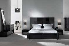 Masculine Black Bedroom Sets With Women Standing Art Plus White Bedding And Custom Pendant Lamp Shade