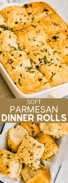 Warm, golden-brown and subtly flavored with parmesan cheese and fresh parsley, these Soft Parmesan Dinner Rolls are a classic and comforting side dish. They're buttery and as delicious as can be! #dinnerrolls #sidedishes #yeastrolls #homemadebread