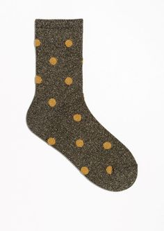 & Other Stories Dot Glitter Socks in Black/Yellow