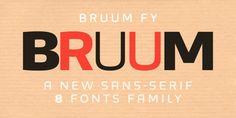 Bruum FY is a sans typeface created by  Gia Tran, Alisa Nowak, Micaela Neustadt, Bertrand Reguron, Gregori Vincens and published by Fontyou.