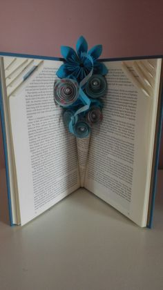 Paper flowers, floral arrangements, book vase, book decoration, paper vase, mothers day gift, folded book art, 1st Anniversary