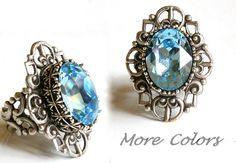 Aquamarine Swarovski Gothic Ring - More Colors - Victorian Gothic Jewelry