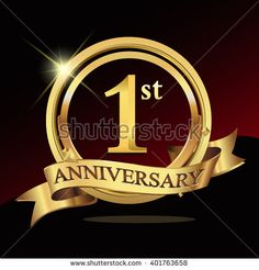 1st golden anniversary logo, 1 years anniversary celebration with ring and ribbon. - stock vector