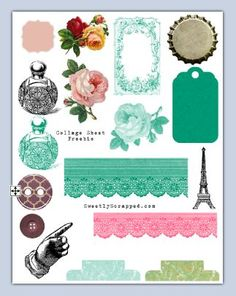 A Free printable collage sheet with assortment of Vintage Tags & Embellishments