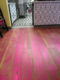 Metallic pink distressed floor in Cakeology in Boston, MA