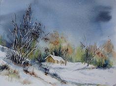 Watercolor - Aquarelle Vosges sous la neige