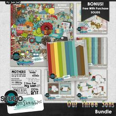Our Three Sons Bundle by #AmandaCreation and #NibblesSkribbles.  This collaboration is all about boys!  Get 2 Bonus #FWP products.  #thestudio #digitalscrapbooking