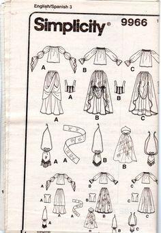 "2001 Simplicity Costumes Sewing Pattern #9966 ""Misses' Costume"" Renaissance Fest"
