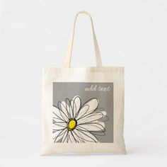 Shop Purple and Yellow Whimsical Daisy Custom Text Tote Bag created by MarshEnterprises. Personalize it with photos & text or purchase as is! Diy Tote Bag, Reusable Tote Bags, Bag Patterns To Sew, Tote Pattern, Sewing Patterns, Painted Bags, Fabric Bags, Fabric Basket, Fancy Hats