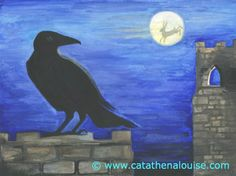 Crow Castle Hare Moon ~ watercolor on paper   © Cat Athena Louise For more information on my art & process, please visit : http://www.catathenalouise.com