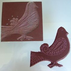 lino cut print in two colours