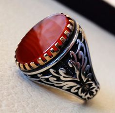 aqeeq man ring carnelian striped agate red semi by AbuMariamJewels