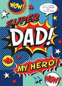 Celebrate dad with this Father's Day card that capitalizes on the comic craze for it's design and has a nice sentiment. Happy Mother S Day, Happy Father, Mama Dearest, Mom And Dad Quotes, Fathers Day Cupcakes, Dad Cake, I Love My Daughter, Fathers Day Crafts, Dad Birthday