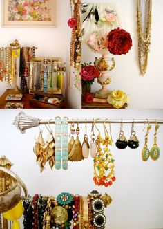 Jewelry storage and display - should def. look at the antique store for some unique ways to display jewelry in my closet.