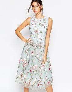 Chi Chi London High Neck Midi Dress with Floral Embrodery