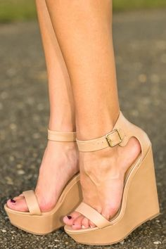 Nude wedges that can be worn with every outfit! A closet must have!