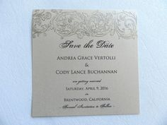 Embossed Gold Scroll Wedding Save the Date by WhiteGownInvitations