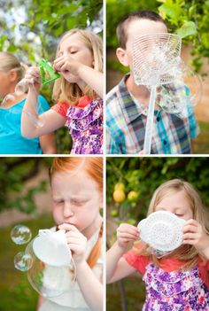 A bubble birthday party... how fun would that be?!  I would never have thought of using a fly swatter to make bubbles...
