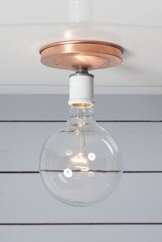 Copper Ceiling Mount Light - Bare Bulb - Industrial Light Electric - 1