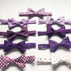 Mix and Match purple plum and lavender groomsmen bow ties