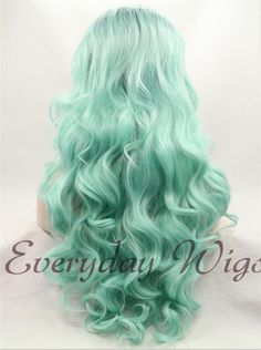 """24"""" Black light green Ombre Wavy Synthetic Lace Front Wig-edw1028"""
