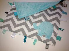 Elephant Chevron taggie blanket - Baby tag Lovey Security Sensory Ribbon Stroller Travel Minky
