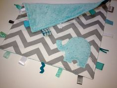 Elephant Chevron taggie blanket - Baby tag Lovey Security Sensory Ribbon Stroller Travel Minky