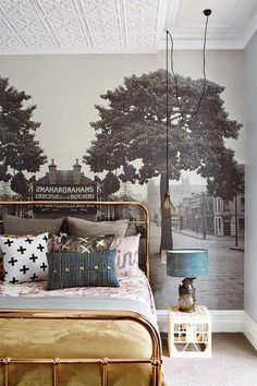 Wallpaper mural - painted tin ceiling - brass bed