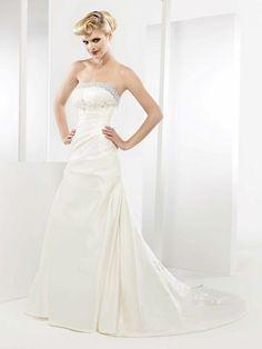 A-line strapless chapel train gorgeous taffeta wedding dress